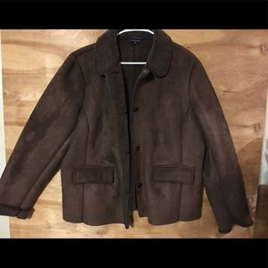 Lands End ladies xl faux suede Sherpa brown jacket
